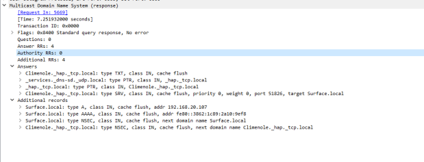 Wireshark HAP response