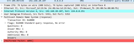 Wireshark Malformed packet