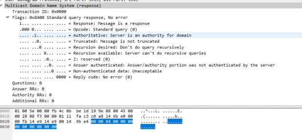 Wireshark no answers