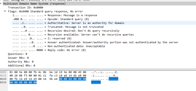 Wireshark no answers
