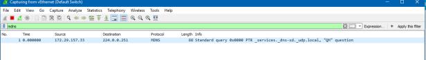 Wireshark single request no response