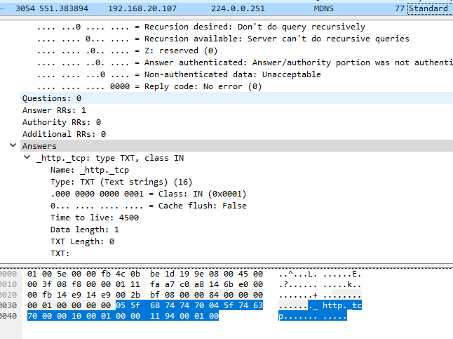 Wireshark Valid TXT record
